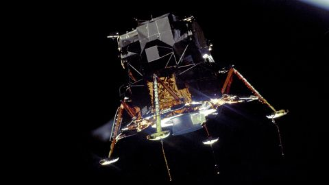 The Apollo 11 lunar module Eagle prepares to land men on the moon for the first time. During each of the six Apollo missions that landed on the moon, two astronauts walked on the lunar surface.