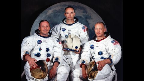 """Apollo 11 was the first manned mission to land on the moon. The crew members, from left, were Neil Armstrong, Michael Collins and Edwin """"Buzz"""" Aldrin. The mission launched on July 16, 1969."""