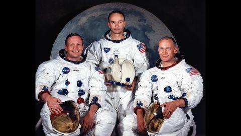 "The Apollo 11 crew, from left: Neil Armstrong, commander; Michael Collins, command module pilot; and Edwin ""Buzz"" Aldrin, lunar module pilot."
