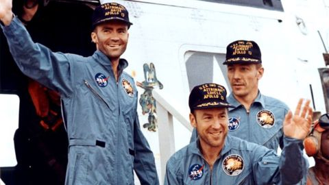 """The crew members of Apollo 13 -- from left, Fred Haise, James Lovell and John Swigert -- are seen after splashdown in April 1970. Apollo 13 was scheduled to be the third lunar landing mission. The crew launched on April 11, 1970, but two days later and about 205,000 miles from Earth, the service module oxygen tank ruptured, crippling the spacecraft. """"Houston, we've had a problem,"""" Lovell said. Instead of landing, the crew did a flyby and came home, safely splashing down on April 17. Lovell's book """"Lost Moon"""" became the basis for the motion picture """"Apollo 13."""""""