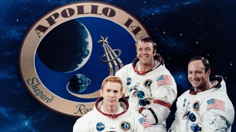 The crew of Apollo 14: from left, Stuart Roosa, Alan Shepard and Edgar Mitchell. The mission launched January 31, 1971, landed on the moon February 5 and returned to Earth on February 9. Shepard and Mitchell conducted moonwalks while Roosa orbited in the command module.