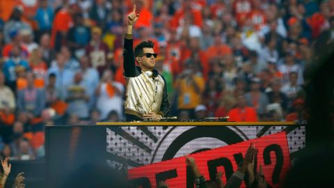 DJ Mark Ronson on stage during the halftime show.