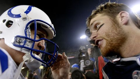Peyton Manning, left, and Tom Brady faced off many times over the years.