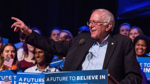 DERRY, NH - FEBRUARY 08:  Democratic presidential hopeful, Sen. Bernie Sanders (D-VT) speaks at a campaign rally at the Pinkerton Academy Stockbridge Theatre on February 8, 2016 in Derry, New Hampshire. (Photo by Andrew Burton/Getty Images)