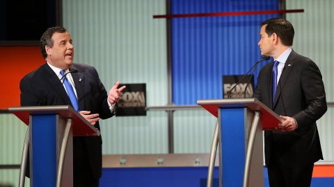 NORTH CHARLESTON, SC - JANUARY 14:  Republican presidential candidates (L-R) New Jersey Governor Chris Christie and Sen. Marco Rubio (R-FL) participate in the Fox Business Network Republican presidential debate at the North Charleston Coliseum and Performing Arts Center on January 14, 2016 in North Charleston, South Carolina. (Photo by Scott Olson/Getty Images)