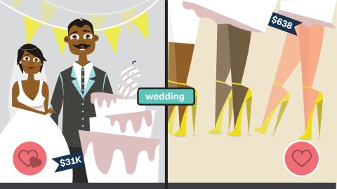 Love is expensive. If you're getting married soon, get ready to shell out about $31,000, the average cost of a wedding in 2014. Plan to fork over $673 if you're a guest.