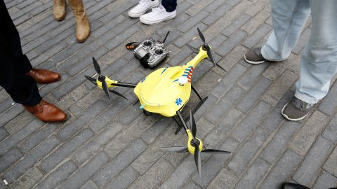 As drones have become more popular and widely available a variety of uses have sprung up. This prototype ambulance drone, developed by scientists at Delft University of Technology, carries a built-in defibrillator.