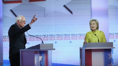 Democratic presidential candidates Sen. Bernie Sanders and Hillary Clinton participate in the PBS NewsHour Democratic presidential candidate debate at the University of Wisconsin-Milwaukee on February 11, 2016, in Milwaukee, Wisconsin.