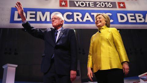 Democratic presidential candidate Senator Bernie Sanders (L) and Hillary Clinton participate in the PBS NewsHour Democratic presidential candidate debate at the University of Wisconsin-Milwaukee on February 11, 2016 in Milwaukee, Wisconsin.