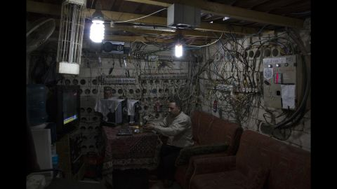 """Keeping the lights on: The electricity """"operations room"""" in a neighborhood of rebel-held Aleppo."""