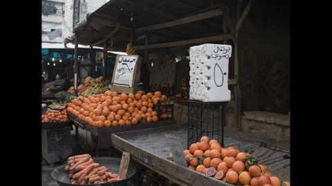 There is still fresh produce in the market stalls but it is more difficult to bring into the city, and much more expensive than even a few weeks ago.