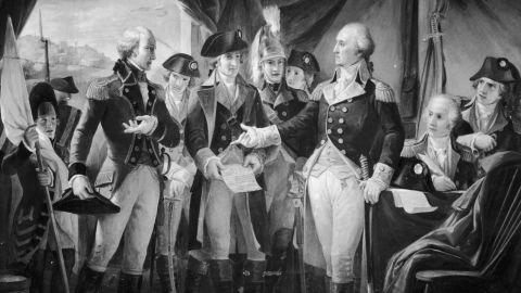 October 1789:  American General and statesman George Washington declining to accept terms, after the siege of Yorktown, from British General Charles Cornwallis, 1st Marquess Cornwallis (left), whose subsequent surrender practically ended the American War of Independence.  (Photo by Three Lions/Getty Images)