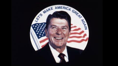 A Ronald Reagan campaign button 'Let's Make America Great Again'.