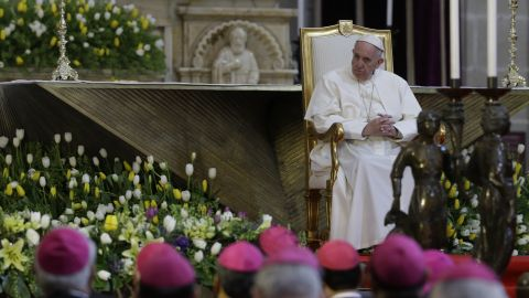 """Pope Francis meets with bishops during his visit to the national cathedral in Mexico City on February 13. The Pope demanded that Mexican bishops challenge the """"insidious threat"""" posed by the drug trade."""