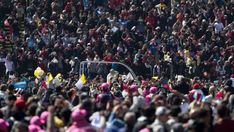 Pope Francis waves to the crowd in Mexico City's main square, the Zocalo, on February 13.