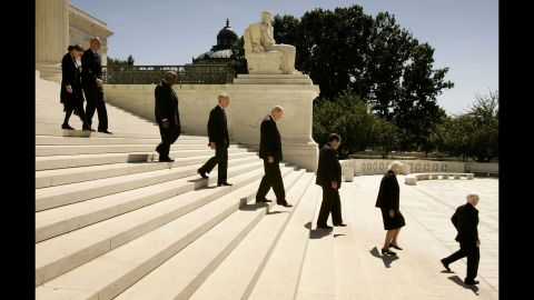 Members of the U.S. Supreme Court, Justice Ruth Bader Ginsburg, Justice Stephen Breyer, Justice Clarence Thomas, Justice David Souter, Justice William Kennedy, Justice Antonin Scalia, Justice Sandra Day O'Connor and Justice John Paul Stevens file out of the U.S. Supreme Court Building to attend funeral services for Chief Justice William Rehnquist on September 7, 2005, in Washington.