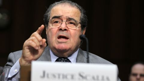 """Scalia testifies during a hearing before the Senate Judiciary Committee on October 5, 2011. The justice testified on """"Considering the Role of Judges Under the Constitution of the United States."""""""