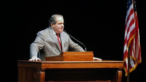 Scalia speaks at the University of Minnesota as part of the law school's Stein Lecture series on October 20, 2015, in Minneapolis.