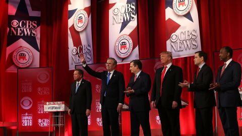 Ohio Gov. John Kasich, Jeb Bush, Sen. Ted Cruz, Donald Trump, Sen. Marco Rubio and Ben Carson participate in a CBS News GOP Debate February 13, 2016, at the Peace Center in Greenville, South Carolina.