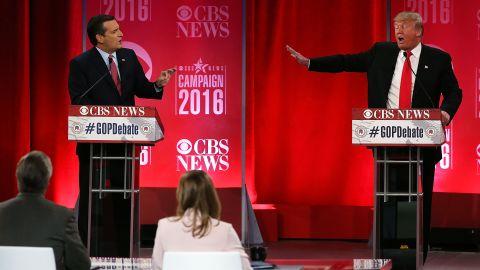 Republican presidential candidates (L-R) Sen. Ted Cruz (R-TX) and Donald Trump participate in a CBS News GOP Debate February 13, 2016 at the Peace Center in Greenville, South Carolina.