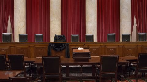 The Courtroom of the Supreme Court showing Associate Justice Antonin Scalia's Bench Chair and the Bench in front of his seat draped in black following his death on February 13, 2016.