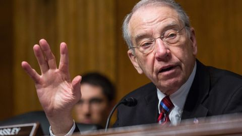 WASHINGTON, DC - MARCH 04: Committee Chairman Sen. Chuck Grassley (R-Iowa) questions witnesses during a Senate Judiciary Committee hearing entitled 'Whistleblower Retaliation at the FBI: Improving Protections and Oversight' on Capitol Hill on March 4, 2015 in Washington, DC. The hearing follows a Government Accountability Office report which disclosed that whistleblower protections at the FBI are weaker than other government agencies and that current procedures could discourage whistleblowing. (Photo by Drew Angerer/Getty Images)