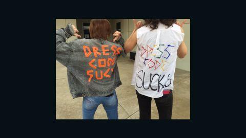 Students at Buchanan High School in Fresno, California protest their school dress code.