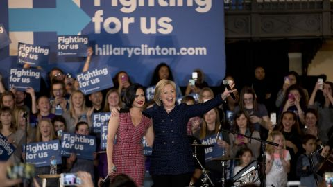 """Clinton turned to a new celebrity surrogate -- singer Demi Lovato -- in an effort to win over young women in Iowa, a state where Sanders' strength depends largely on his ability to turn out the youth vote.<br /><br />In January, Clinton and Lovato drew a crowd of largely young women to the University of Iowa campus, where Lovato vouched for Clinton. After performing her hit song """"Confident,"""" <a href=""""http://www.cnn.com/2016/01/21/politics/hillary-clinton-demi-lovato-young-women-voters/"""" target=""""_blank"""">Lovato said:</a> """"I don't think there's a woman more confident than Hillary Clinton."""""""