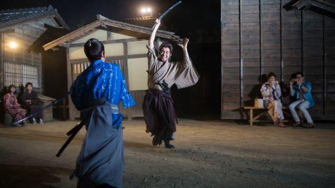 Samurai actors perform sword fights at the Toei Kyoto Studio Park.