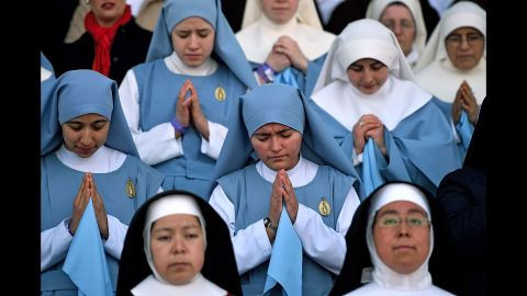 Nuns attend a Mass with Pope Francis at a stadium in Morelia on February 16.