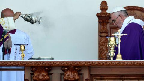 Pope Francis celebrates Mass in Morelia on February 16.