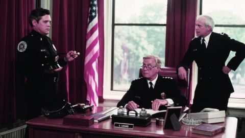 """George Gaynes, center, with G.W. Bailey and and George R. Robertson in """"Police Academy."""""""