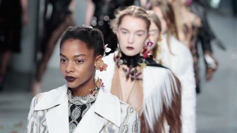 Models walk the runway wearing Rodarte's fall 2016 line. The American luxury label was founded by Kate and Laura Mulleavy in Los Angeles in 2005 and is known for intricately crafted, multi-layered clothes.