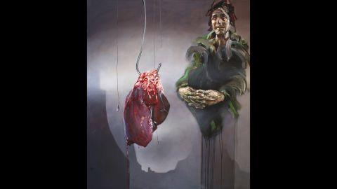 "The suffering of Syrians is depicted in artist Sara Shamma's ""World Civil War Portraits"" (ALT: Butcher)"