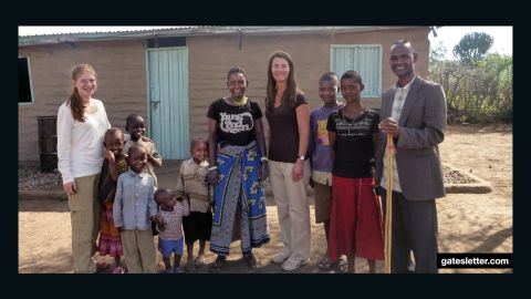 Melinda Gates and daughter Jennifer visiting with Anna and Sanare and their family in Tanzania, 2014.