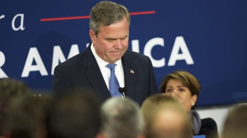 """COLUMBIA, SC - FEBRUARY 20:  Jeb Bush reacts as he announces the suspension of his presidential campaign at an election night party at the Hilton Columbia Center in Columbia, SC on February 20, 2016.  Donald Trump won decisively in the South Carolina Republican Presidential Primary, the """"first in the south.""""  (Photo by Mark Makela/Getty Images)"""