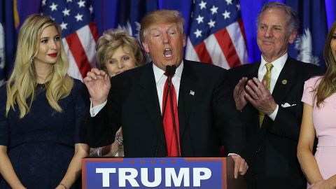 SPARTANBURG, SC - FEBRUARY 20: Presidential candidate Donald Trump speaks following his victory in the South Carolina primary on February 20, 2016 in Spartanburg, South Carolina. The New York businessman won the first Southern primary after a heated battle with the other candidates. (Photo by Spencer Platt/Getty Images)