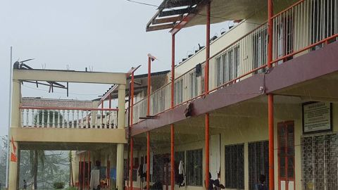 A school in Ba, Fiji, shows damage from the cyclone on February 21.