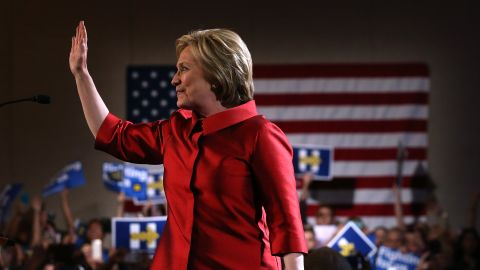 Hillary Clinton greets supporters during a caucus day event at Caesers Palace on February 20, 2016 in Las Vegas, Nevada.