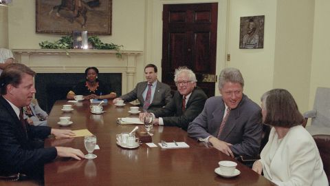 Sanders sits next to President Bill Clinton in 1993 before the Congressional Progressive Caucus held a meeting at the White House. Sanders co-founded the caucus in 1991 and served as its first chairman.