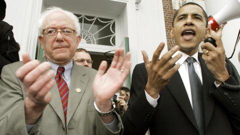 Barack Obama, then a US senator, endorses Sanders' Senate bid at a rally in Burlington in 2006.