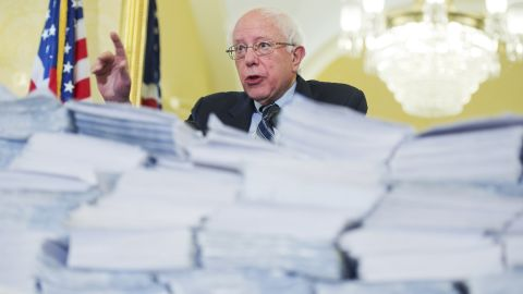 In March 2015, Sanders speaks in front of letters and petitions asking Congress to reject proposed cuts to Social Security and Medicare.