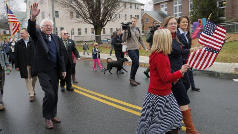Sanders waves while walking in a Veterans Day parade in Lebanon, New Hampshire, in November 2015.