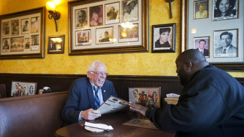 """Sanders sits with rapper and activist Killer Mike at the Busy Bee Cafe in Atlanta in November 2015. That evening, Killer Mike <a href=""""http://www.cnn.com/2015/11/24/politics/bernie-sanders-killer-mike/index.html"""" target=""""_blank"""">introduced Sanders at a campaign event</a> in the city. """"I'm talking about a revolutionary,"""" the rapper told supporters. """"In my heart of hearts, I truly believe that Sen. Bernie Sanders is the right man to lead this country."""""""