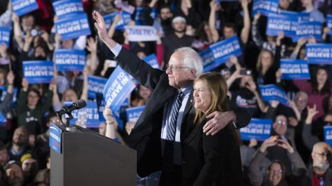 """Sanders and his wife, Jane, wave to the crowd during a primary night rally in Concord, New Hampshire, in February 2016. Sanders defeated Clinton in the New Hampshire primary with 60% of the vote, becoming <a href=""""http://www.cnn.com/2016/02/04/politics/bernie-sanders-jewish-new-hampshire-primary/index.html"""" target=""""_blank"""">the first Jewish candidate to win a presidential primary.</a>"""