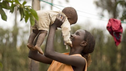 A mother and child in Mwea Village, Kenya.