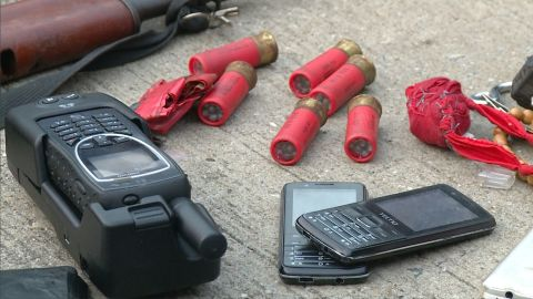 Officers recovered from the ship AK47s, magazines, bullets and satellite phones