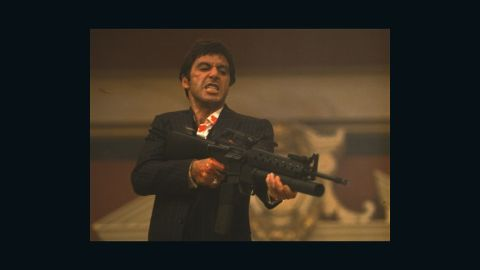 """<strong>""""Scarface""""</strong> In 1983, Al Pacino's """"Scarface"""" remade a 1930s gangster flick and turned it into a colorful bloodfest chronicling the rise and fall of Tony Montana -- a """"political refugee from Cuba"""" who becomes a Miami drug lord. A lot of lines from the script -- written by Oliver Stone -- have become part of pop culture. Many who've never even seen """"Scarface"""" know the famous line Montana screams as he opens fire: """"Say hello to my little friend!"""" <strong>Where to watch: </strong>Netflix; Amazon Prime Video (rent/buy); Google Play (rent/buy)"""
