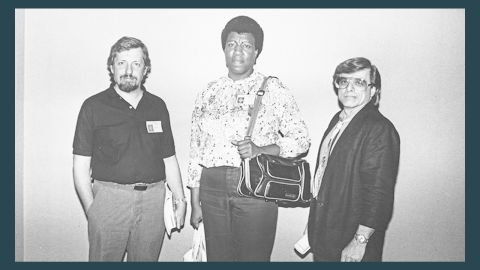 During the Clarion Science Fiction Writers' Workshop, she took a class with science-fiction great Harlan Ellison, at left with Butler in 1988. The experience led her to sell her first science-fiction stories, and Ellison became her mentor.