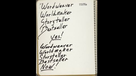 """Butler scrawled notes, literary passages and everyday to-do lists in a series of """"commonplace books."""" This page of affirmations comes from a 1987 book collected among her papers at the Huntington Library, Art Collections, and Botanical Gardens."""